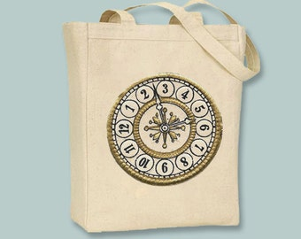 Vintage Steampunk Clockface Clock Natura or Black Canvas Tote- Selection of sizes available
