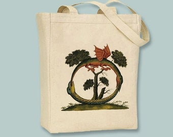 Ancient Dragon and Serpent Illustration, Alchemy Symbol, Mystical Design Canvas Tote  - Selection of sizes available