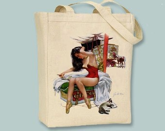 Circus Girl 1948 Pin up Girl Canvas  tote - Selection of sizes available