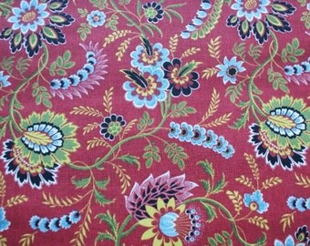 Istanbul Rainforest fabric red green blue black yellow floral and leaves Sold-by-the-yard