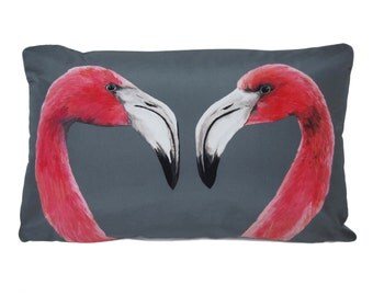 Flamingo Cushion - handmade digitally printed silk cushion
