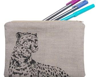 Cheetah Print Zipped Pouch - handmade organic cotton bag