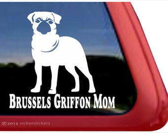 Brussels Griffon Mom | DC738MOM | High Quality Adhesive Vinyl Brussels Griffon (Smooth) Window Decal Sticker