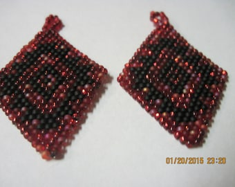 "Native Style ""Navajo"" in Strawberry Fields Earrings....Black and Strawberry...1535h...Pick Your Earring Type/Style"