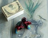 Miniature shoes 1:12 scale - Victorian silk shoes - turquoise blue and burgundy brocade silk