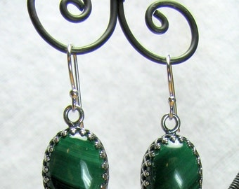Earrings - 10x14mm Malachite in Sterling Silver (E-218)