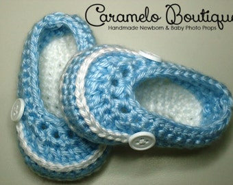 Crochet Blue Baby Boy Shoes-Blue Baby Boy Loafers--Blue Baby Boy Booties-Blue Newborn Shoes-Blue Infant Shoes-Baby Photography Prop