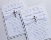 White Baptism-Communion Invitation with Vintage Sparkling Cross; Rhinestone Buckle; Rhinestone Cross Brooch