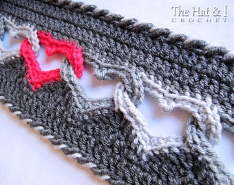 CROCHET PATTERN - Sweetheart Scarf - a crochet heart scarf pattern, linked heart scarf pattern, infinity heart scarf - Instant PDF Download