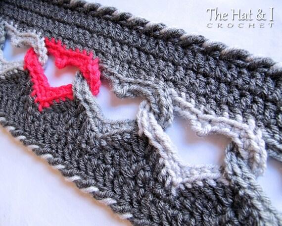 CROCHET PATTERN - Sweetheart Scarf - a crochet heart scarf pattern, linked heart scarf pattern, infinity heart scarf - Instant PDF Download