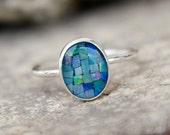 MOSAIC OPAL RING - opal ring -opal stacking ring -gemstone stacking ring - october birthstone ring - october ring stacking ring -skinny ring