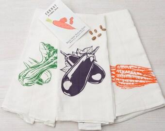 Screen Printed  Tea Towels - Flour Sack -  Set of Three Veggie Kitchen Towels