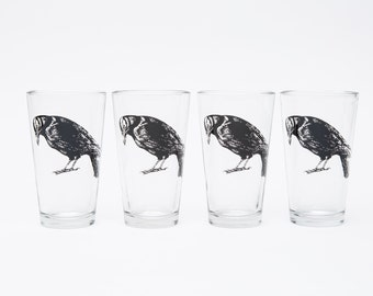 Set of Four Pint Glasses - Screen Printed Crow Glasses