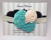 tiffany blue & ivory rolled flower headband - newborn headband, baby girl headband, satin flower headband, flower girl, bridesmaid