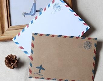 Set of vintage Envelopes // A6  Airmail Envelopes // Invitation Envelopes / Retro Envelopes/