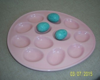 Vintage Deviled Egg Tray -  Ceramic Egg Holder -  Retro Egg Platter -  Egg Dish -  Home Made Egg Plate - Easter Serving - Pink Ceramic Egg