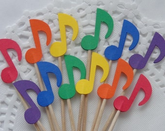 24 Rainbow Music Note Cupcake Toppers - Food Picks - Party Picks - Concert - Musical - Birthday