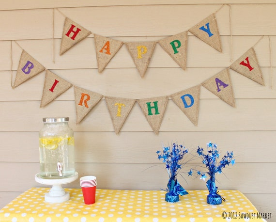 REVERSIBLE Birthday Banner, Rainbow Party decorations, Reversible Polka Dot Party Decor