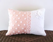 Peachy pink cushion cover, RIBBON CANDY, vintage chenille pillow cover, 12 X 16, cottage chic, shabby style, daisy pillow case