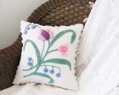 Floral pillow cover 14 X 14 chenille SPRING FLING white shabby pink tulip purple tulip cushion cover cottage chic