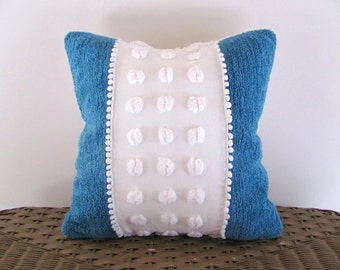 Blue chenille pillow cover, PEARLS AND POPS, aqua cushion cover, vintage chenille pillow cottage chic