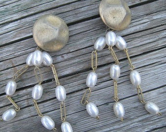 Awesome Faux Pearl Octopus Earrings with Gold Tone Links