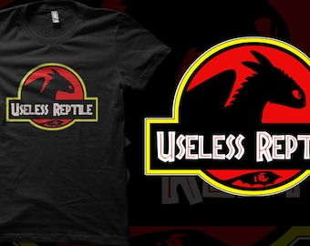 Toothless How To Train Your Dragon Useless Reptile Jurassic Park Logo T-shirt  - Unisex or Ladies Fit T-shirts