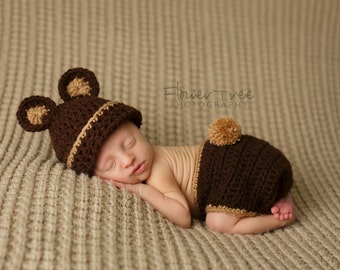 Newborn Bear Hat, Chocolate Bear Hat, Newborn Photo Prop, Baby Bear Hat, Newborn Diaper Cover, Hat And Diaper Cover Set, Newborn Brown Hat