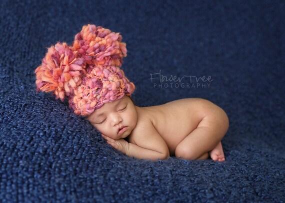 Newborn Girl Hat, Newborn Pom Pom Hat, Chunky Yarn Hat, Newborn Photo Prop, Soft Fuzzy Hat, Newborn Boy Hat, Shades Of Pink Hat, Pink Hat