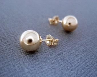Large Gold Ball Earrings, 8mm Gold Filled Ball Earrings