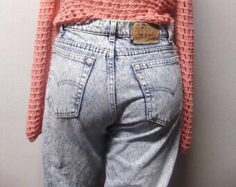 "Levis Acid Washed  High Waisted  Vtg 80's Denim Jeans Waist 35"" x 35"" Inseam"