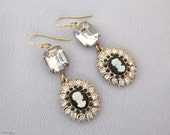 Repurposed Rhinestone Earrings - Cameo Earrings - Dangle Earrings - Handmade One of a Kind Jewelry