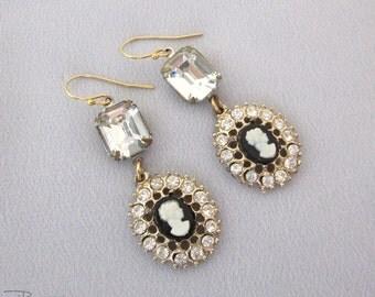 Vintage Repurposed Cameo Earrings, Rhinestone Earrings, Dangle Earrings Gold Filled, Vintage Assemblage Jewelry - JryenDesigns