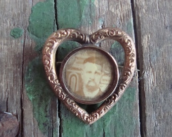 Vintage Heart Shaped Photo Pin of a Man