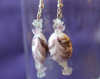 Cherry Vanilla Swirl Dangle Earrings