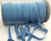 "Antique Blue  FOE 3/8"" inch Country Blue P431 Fold Over Elastic Solid shiny FOE 5 or 10 yards DIY Headbands Hair Satin Soft Elastic trim"