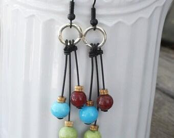 Dangling Mobile Earrings  - Black earwires - Blue, Green, Brown, modern earrings, bright earrings, chandelier earrings, modern jewelry
