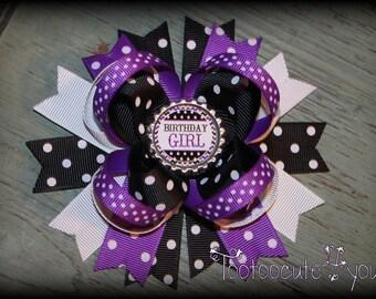Purple Birthday Boutique Hair Bow