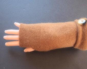 Fingerless Gloves Cashmere Brown