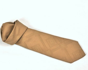 Mens Wide Tie Textured Polyester Necktie Solid Light Brown Color Mod Necktie Retro 1960's