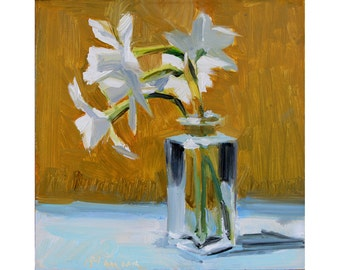 White Jonquils, Square Glass Jar on Gold