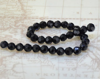 "8mm faceted black glass beads,Loose 32beads-- One STRANDS 9""  gemstone beads"