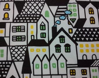 House, ivory, fat quarter, pure cotton fabric