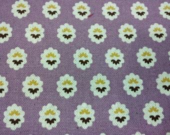 Floral motif, pastel purple, fat quarter, pure cotton fabric