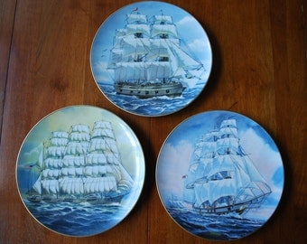 Vintage set of three Rosenthal - Nautical themed plates - 1980s - wall hanging - sailing ships plates