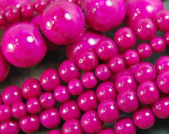 Fossil Beads,12mm Fossil Stone in Cerise Pink -16 inch strand