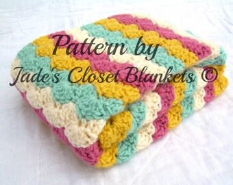 Crochet Baby Blanket Pattern, Instant Download, PDF Pattern, Striped Multicolor Shell Stitch Blanket, Crib size and Travel size included