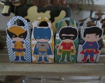 Boy Superhero Gable Boxes Set of 12