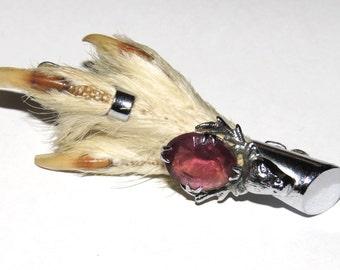 Vintage Scottish Grouse Foot Brooch w Stag Head & Jewel