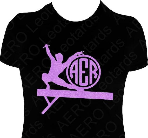 Gymnastics Personalized Custom Glitter T Shirt By Aeroleotards